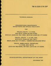 TM9 2320 218 20P ~ M151, A1, A2 ~ Org Parts List Manual ~ Jeep / Mutt ~ Reprnt