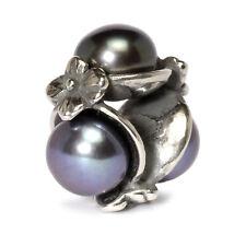 Authentic Trollbeads Silver Triple Pearl Bead, Black ~  51733 ~ NEW