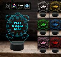 Regalo originale FESTA DEL PAPA' lampada 3D SVEGLIA con frase 7 colori led da sc