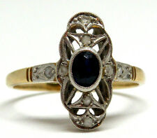 Delicate 18k Gold & Platinum with Diamonds and Natural  Sapphire Ring