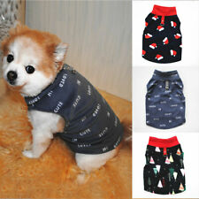 Pet Dog Christmas Printed Fleece Vest T Shirt Small Dog Cat Thick Vest Clothing