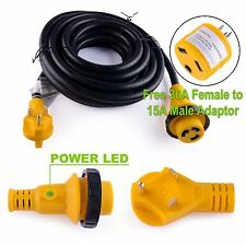 25FT Foot 30A Amp RV Extension Cord Trailer Motorhome Camper Power Supply Cable