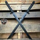 2PC BLACK Full Tang 27' Ninja Samurai Twin Tanto Blade Sword Machete Katana New