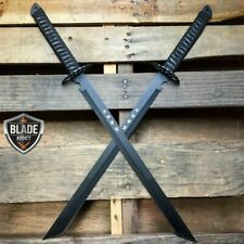"2Pc Black Full Tang 27"" Ninja Samurai Twin Tanto Blade Sword Machete Katana New"