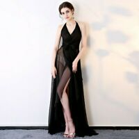 Lady See Through Evening Dress Halter Slit Backless Sexy Sheer Full Length Fairy
