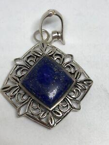 Vintage Barse Lapis Lazuli Sterling Silver Hinged Enhancer Pendant