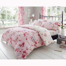 Oiseaux Fleur Parure Housse de Couette King Size Floral Lit Rose - 2 IN 1 Design