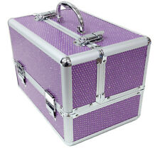 Large Purple Aluminium Beauty Sequin Cosmetic Box Nail Make Up Vanity Salon Case