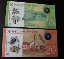 2- Nicaragua Polymer 10 & 20 Banknotes Unc.