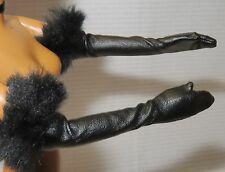 GLOVES ~ BARBIE DOLL LOUNGE KITTIES BLACK PANTHER FAUX FUR ACCESSORY CLOTHING