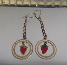 HANDCRAFTED RED STRAWBERRY CHAIN EARRINGS, XMAS,PIERCED HOOK,BRAND NEW,AUSTRALIA