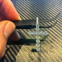 1.50Ct Round Cut Diamond Cross women's Pendant Free Chain 14K White Gold Finish