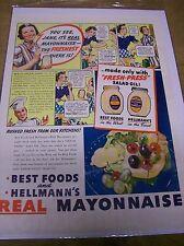 Original Best Foods and Hellmann's Mayonnaise Magazine  Ad