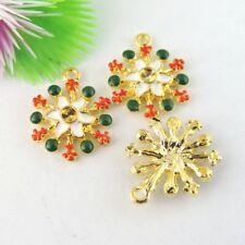 10pcs/lot Gold Alloy Enamel Christmas Snowflake Look Pendants Charms Craft 39055