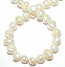 """NP582f White 7mm - 9mm Flat-Sided Potato Cultured Freshwater Pearl Beads 16"""""""