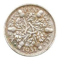 KM# 832 - Sixpence - 6d - Silver (.500) - George V - Great Britain 1931 (EF)