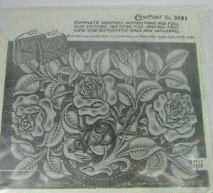 Vintage Craftaid Pocketbook Bag Flower Leaves Leather Template Stencil # 2685