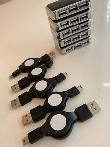 5 HUBS USB 4 ports NEUF avec cables enrouleurs rétractables