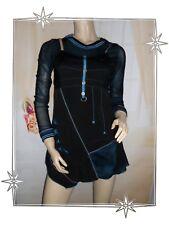B - Magnifique Robe Tunique Fantaisie Noire Bleu Capuche  Funky Fresh  T 1 - 36