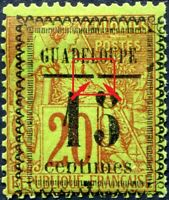 "COLONIES GUADELOUPE N° 8 NEUF* Variétés ""TYPE IV + TRAIT INTERROMPU"" SIGNÉ"