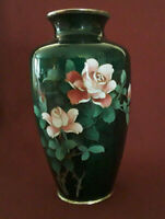 "Vintage Japanese Sato Ando Ginbari Green Foil Cloisonne Vase Pink Roses 7"""