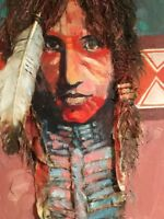 Native American Original Oil & Texture Painting.