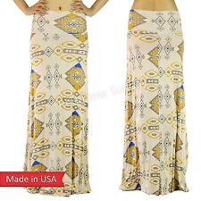 Beige Aztec Tribal Ethnic Southwest Pattern Fold Over Rayon Long Maxi Skirt USA