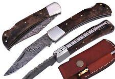 Damascus Steel Blade, Pocket Knife, Folding Knife Camel Bone Handle Art No(251)
