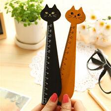 Black Korea Kawaii Cat Kitty Face Stationery Wood Ruler Sewing Ruler Scve