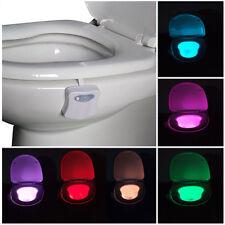 Humano Sección Sensor Automático Asiento luz LED Inodoro Bol Baño 8Colores