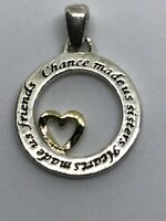 Hearts Made Us Friends Chance Made Us Sisters Sterling Silver Necklace Pendant