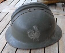 original Helm Stahlhelm Frankreich mit Wappen Hahn aufgemalt