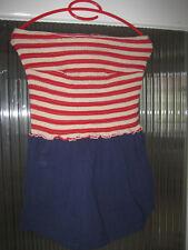 Primark Jumpsuit kurz rot-weiß-gestreift/blau Gr XL