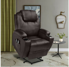 Brown Oversized Leather Auto Electric Power Lift Massage Recliner Chair w/Remote