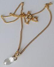 collier vintage chaine couleur or pendentif  poire verre taillé 515