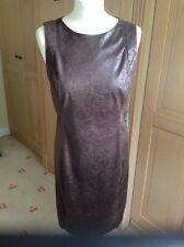FANTATSIC ZARA BASIC WET LEATHER LOOK BROWN SLEEVELESS DRESS UK SIZE M (10) BNWT
