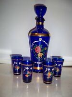 VINTAGE ITALIAN COBALT DECANTER SET HAND PAINTED WITH GOLD TRIM