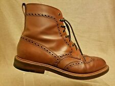 Alfred Sargent for J.Crew Men Brown Leather Wingtip Dress Lace Up Boots Size 8.5