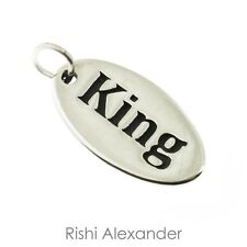 925 Sterling Silver Oval King Tag Charm Made in USA