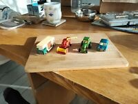 Bundle of 4 Toy Vehicles matchbox  70 s combine, tractor horse box and mg