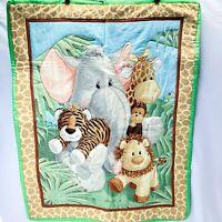 "Baby Blanket Safari Animals Quilt Elephant, Tiger, Lion, Giraffe Monkey 42"" X 34"