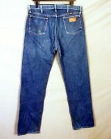 vtg 80s 90s Wrangler 13MWZ Medium Wash USA Denim Jeans Cowboy Distressed 36 X 34