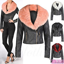 Women's Faux Leather Cropped Biker Coats & Jackets