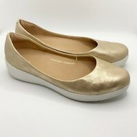 FitFlop Super Ballerina Rose Gold Shimmer Metallic Ballet Flat Shoes UK 7 US 9
