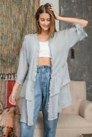 Easel Blue Grey Ruffled Open Lightweight Kimono Cardigan