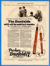 Vintage 1923 Parker Duofold Pen w/ 25 Year Point Gold Monogram Original Print Ad