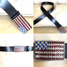 Perry Ellis American Flag Rhinestone Buckle Fine Leather Black Belt Size XL