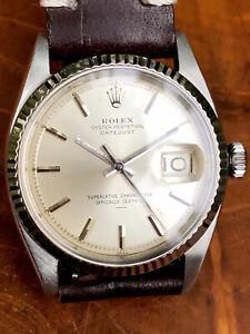 "Rolex Datejust 1601 Mens 36mm RARE UNDERLINE ""__"" SWISS Dial Watch SS White Gold"