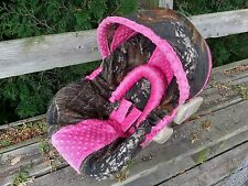 Camo Infant Car Seat Cover, Mossy Oak fabric and Hot Pink Minky