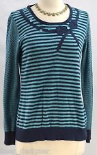 PER UNA Ladies striped bow Angora Mix Long Sleeve sweater top fuzzy pullover 10